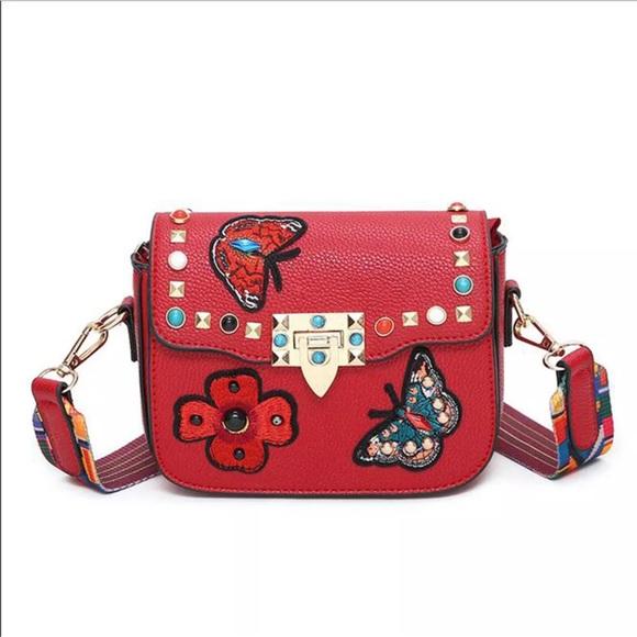 Bags   Sale Firm Valentina Studded Guitar Strap Bag   Poshmark 9b1b376934