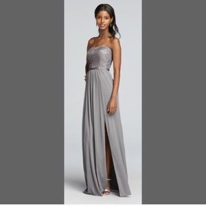 Grey davids bridal strapless gown.