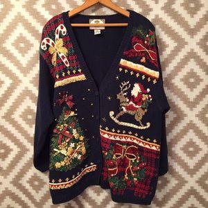 VTG Embellished Christmas Ramie Cotton Cardigan!