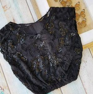 Vintage Black Sequin Crochet Lace Crop Top S