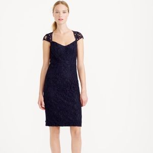 Jcrew Blue Tinsley Dress In Leavers Lace, 10, Navy