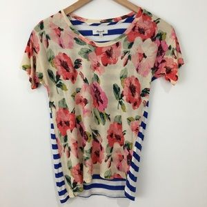 Madewell floral striped shirt NWOT size small