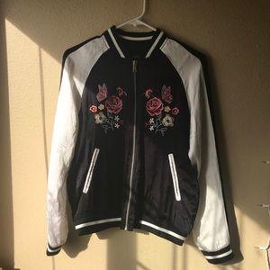 Forever 21 Floral Printed Bomber Jacket