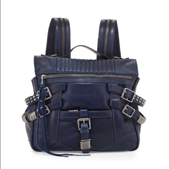 55% off Ash Handbags - Ash Trix Leather Buckle Backpack in Indigo ...