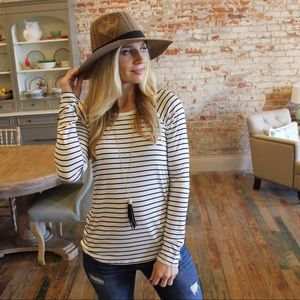 Tops - Ivory and black striped long sleeve top