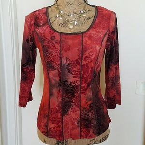 🆕336)Shades of red velvety top