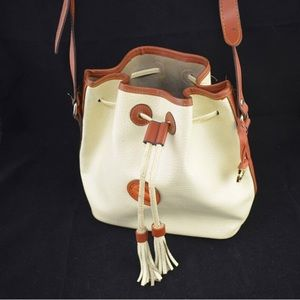 Vintage D&B Crossbody Bucket Bag in White Leather