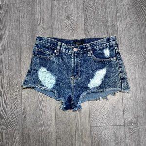 High Waist Denim Cheeky  Distressed Shorts