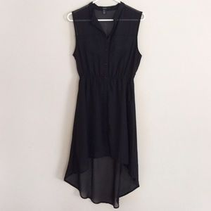 Button down sleeveless high low chiffon dress