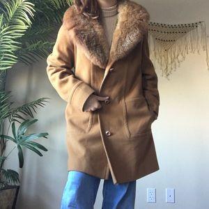 🍁Vintage 70s 80s Mod Faux Fur Peacoat