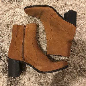 Zara tan suede booties Gently used