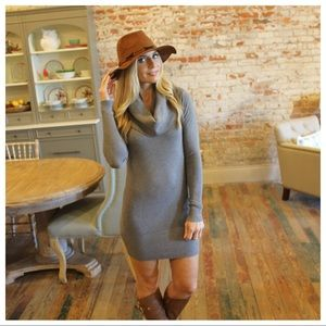 Gray cowl neck long sleeve sweater dress
