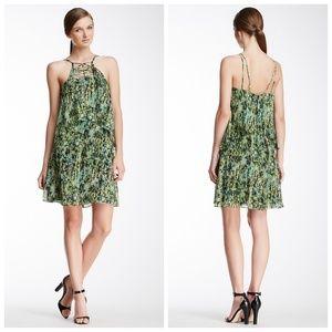 BCBG Kaia GREEN Jungle Print Silk Lattice Dress XS