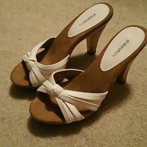 Never been worn xhilaration white sandles