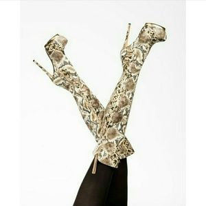 Beige/Snake Skin| Thigh High Boots | Multi Color