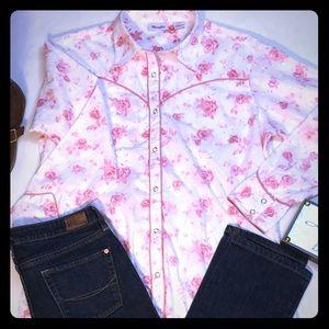 💖Wrangler pink eyelet floral  top size large