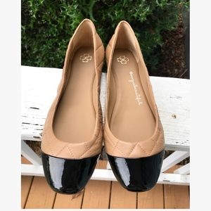 Ann Taylor Quilted Leather Tan & Black Flats