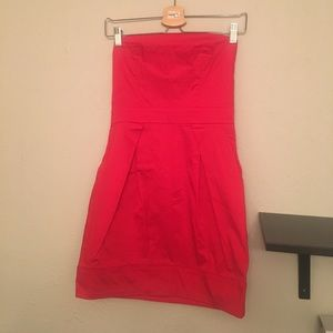 Strapless red dress, French connection