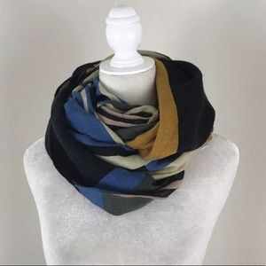 H&M Mod Color Block Wool Blend Infinity Scarf