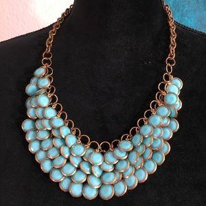 Cara New York Turquoise Blue Bib Costume Necklace