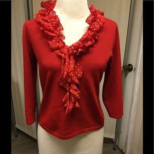 Double Knit Ruffle Collar Top