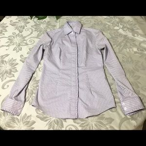 New York and Co Shirt Purple Stripes