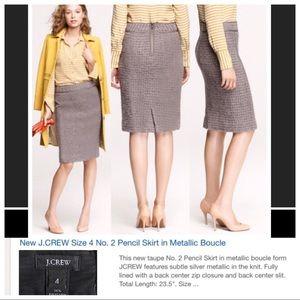 J. Crew   #2 Pencil Skirt  in Metallic Boucle