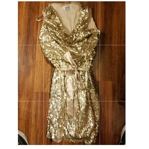 Xscape Sequin Mini dress Gold