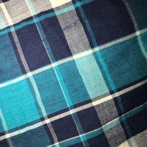 Blue & White flannel button down Large 100% cotton