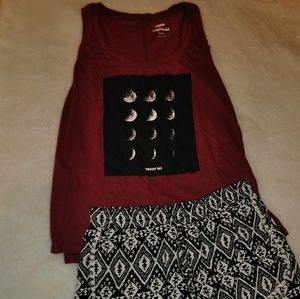 PHASED OUT Maroon Moon Phases Tank Top
