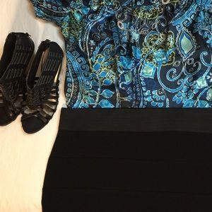 Bodycon pencil skirt black tiers size XL