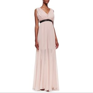 Alice + Olivia Kendrick leather trimmed gown