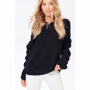 Classic Black Cozy Ruffle Detail Oversized Sweater