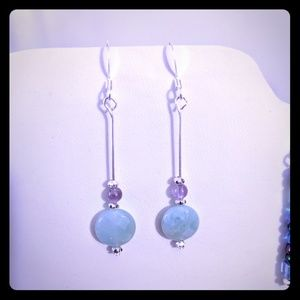 Amazonite and Amythest Sterling silver Earrings