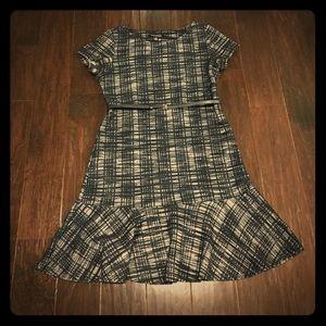 Textured Woven Belted Ruffle Hem Dress (Petite)