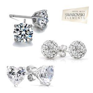 3 pack: Swarovski Elements stud earrings