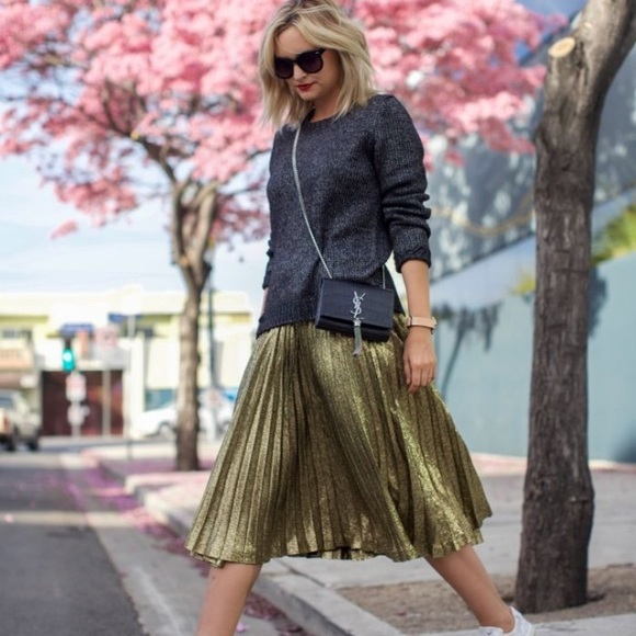 12d8817971fa16 Skirts | Who What Wear Gold Pleated Skirt | Poshmark