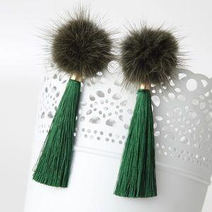 Green Pom pom fur ball long tassel drop earrings
