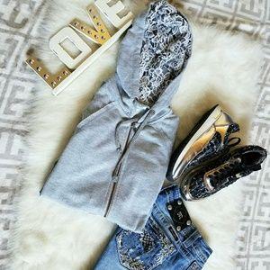 👕🍁Grey Miss Me Lace Hoodie🍁👕