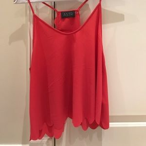 Silky crepe pink scallop ASTR tank