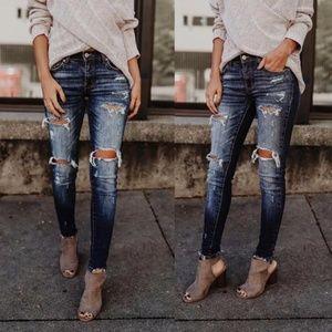 Denim - Dark Wash Distressed Ankle Jean w/ Whiskering