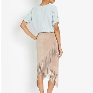 Intermix Exclusive suede fringed skirt