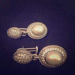 Judith Ripka Pearl, Silver and CZ Earrings