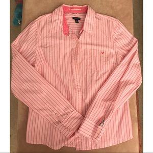 American Eagle Long Sleeve Pink Striped Shirt