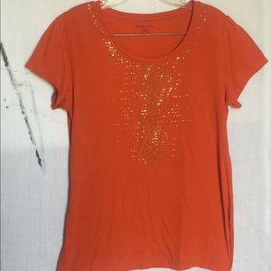 Relativity Orange Embellished Tee Size Petite M