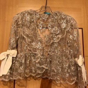 Jocelyn Silver Lace Top