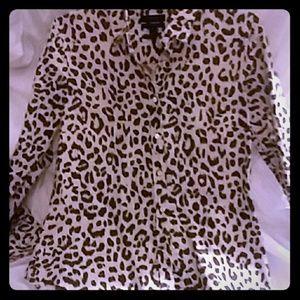 Cheetah print, J Crew cotton blouse