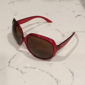 Clear red plastic sunglasses