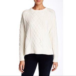 Sand Rachel Zoe Elbow Patch Cable Cotton Sweater