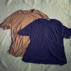 Lot of 2 Zara Basic t shirt tunics Olive & black